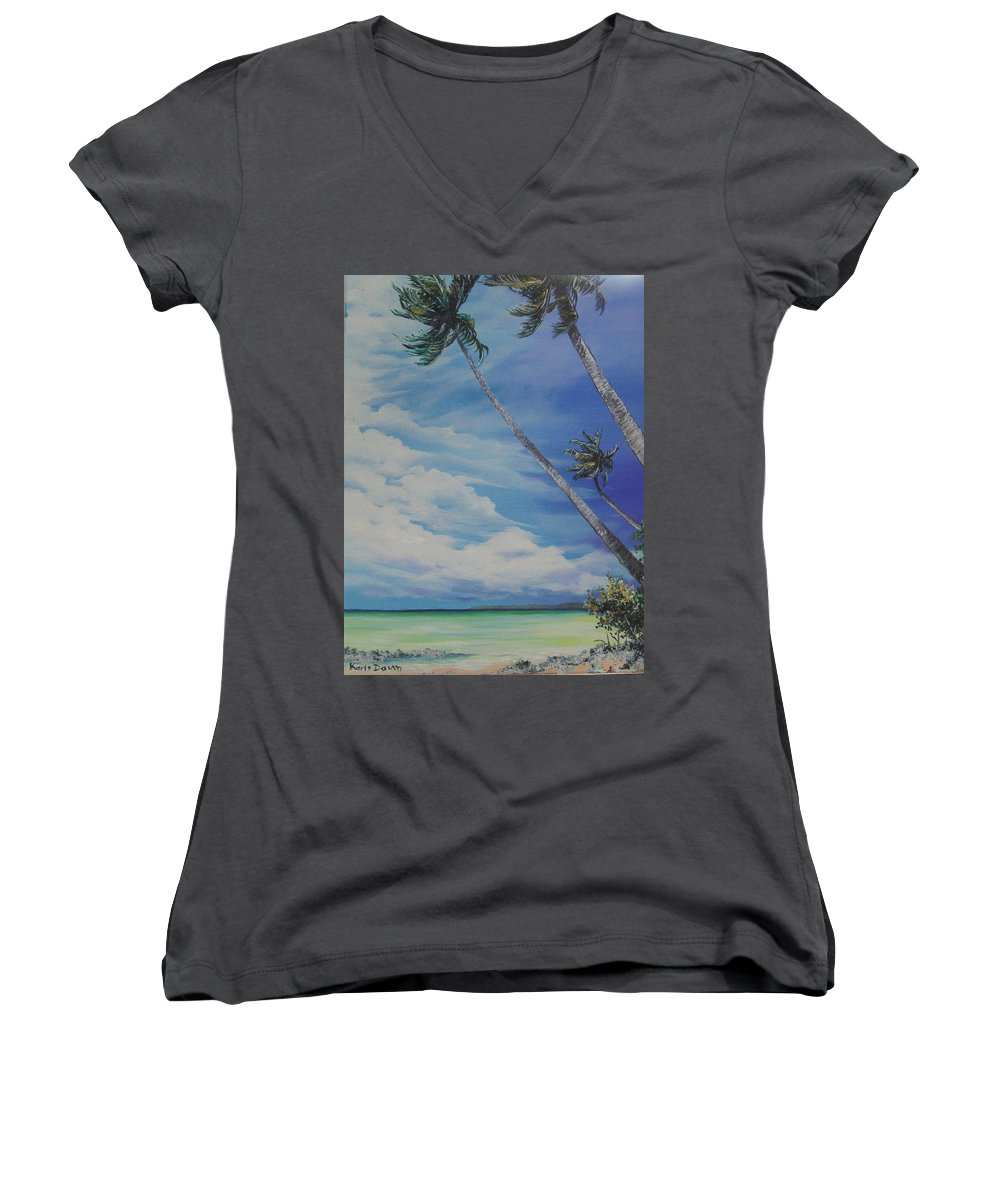 Trinidad And Tobago Seascape Women's V-Neck T-Shirt featuring the painting Nylon Pool Tobago. by Karin Dawn Kelshall- Best