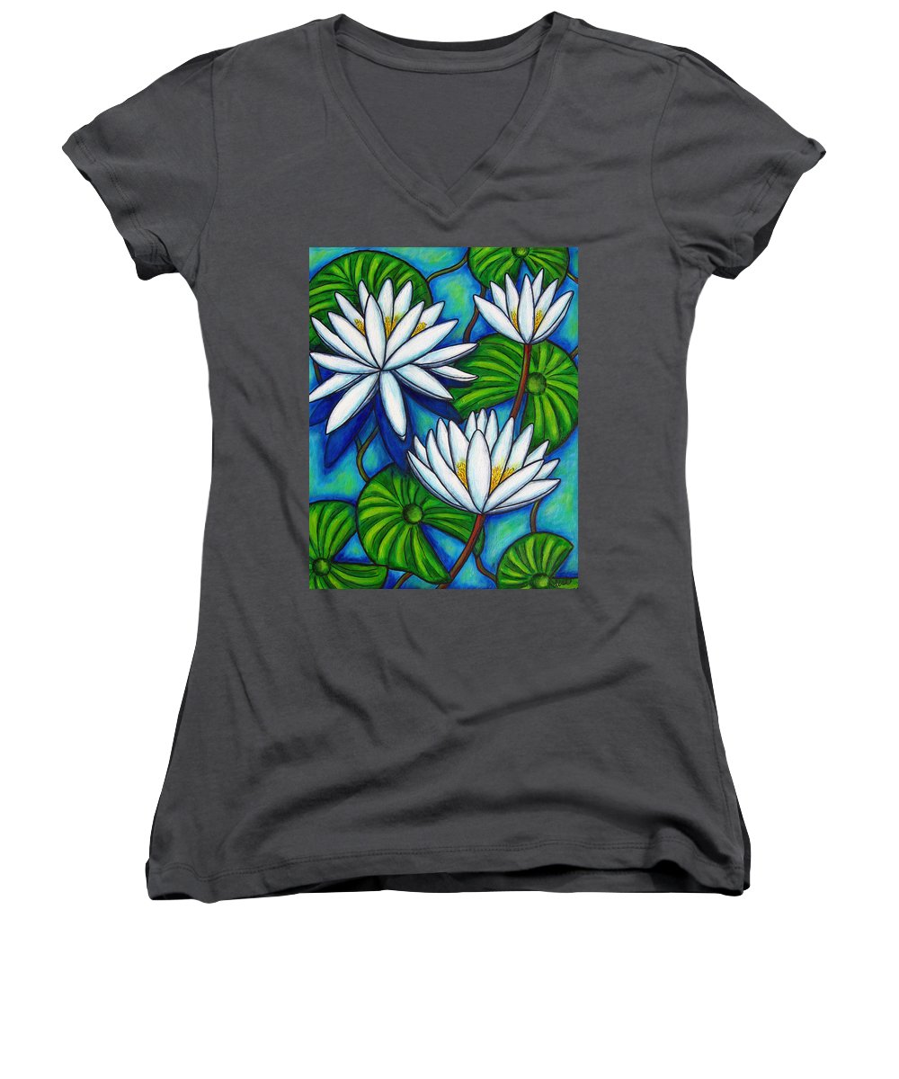 Lily Women's V-Neck T-Shirt featuring the painting Nymphaea Blue by Lisa Lorenz