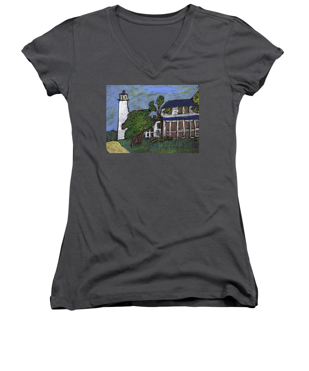 Light House Women's V-Neck T-Shirt featuring the painting Ocracoke Island Light House by Wayne Potrafka