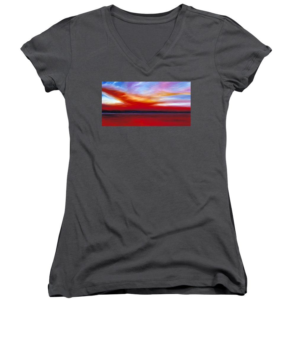 Clouds Women's V-Neck (Athletic Fit) featuring the painting October Sky by James Christopher Hill