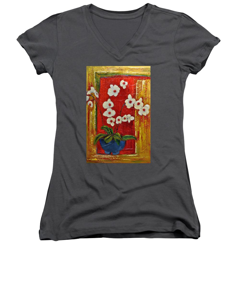 Orchids Women's V-Neck T-Shirt featuring the painting Ode To Orchids by Ginger Concepcion