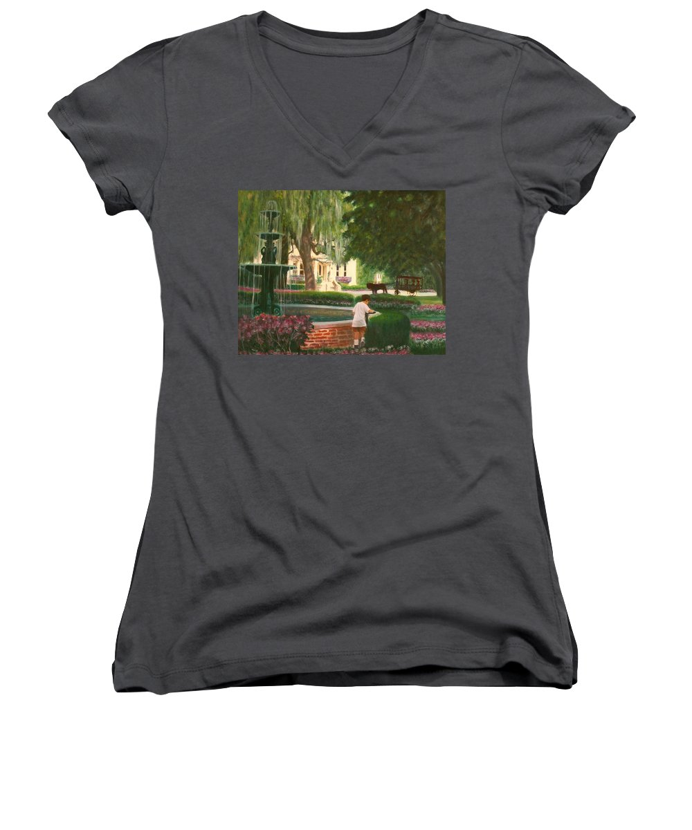 Savannah; Fountain; Child; House Women's V-Neck T-Shirt featuring the painting Old And Young Of Savannah by Ben Kiger