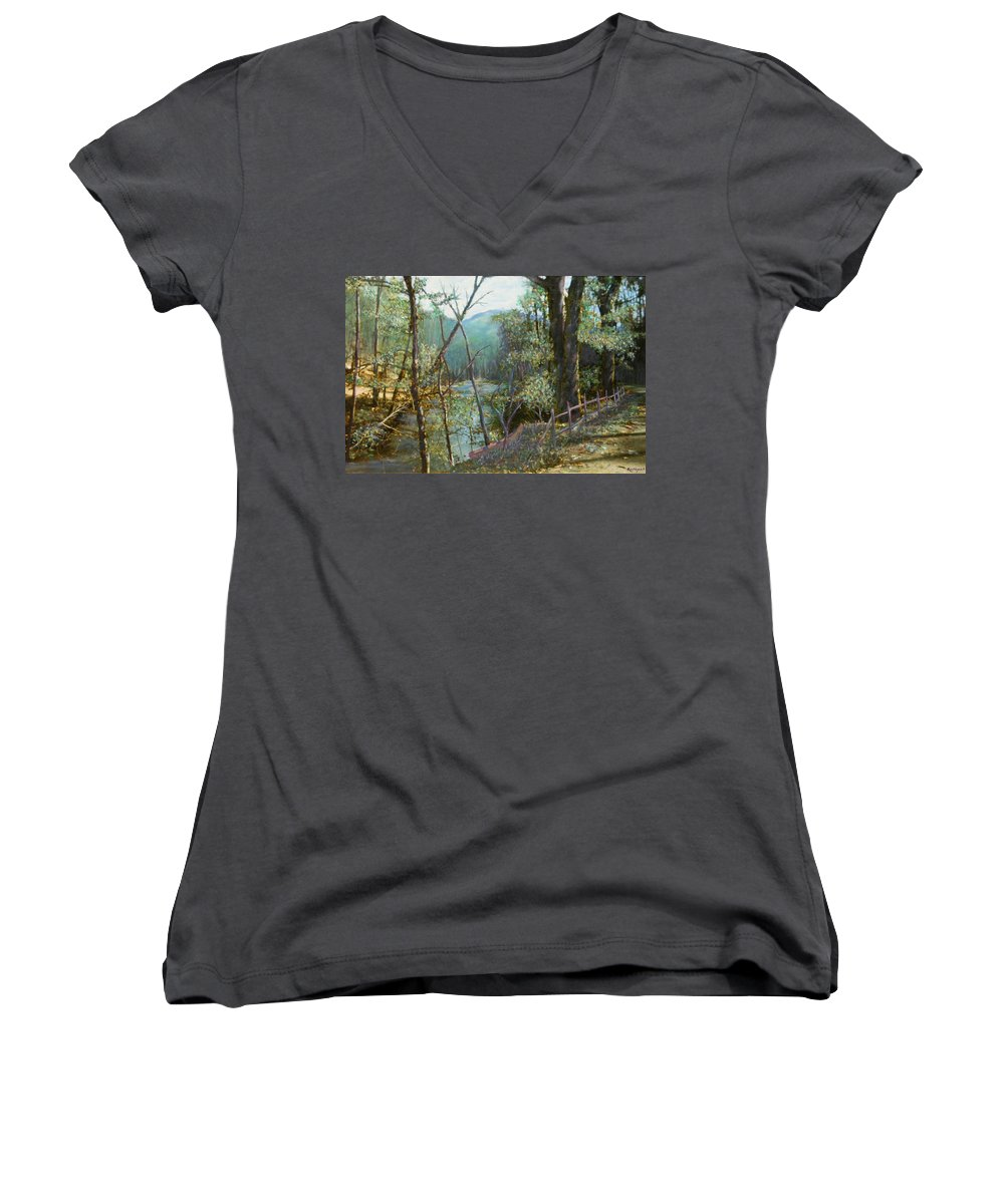 River; Trees; Landscape Women's V-Neck T-Shirt featuring the painting Old Man River by Ben Kiger
