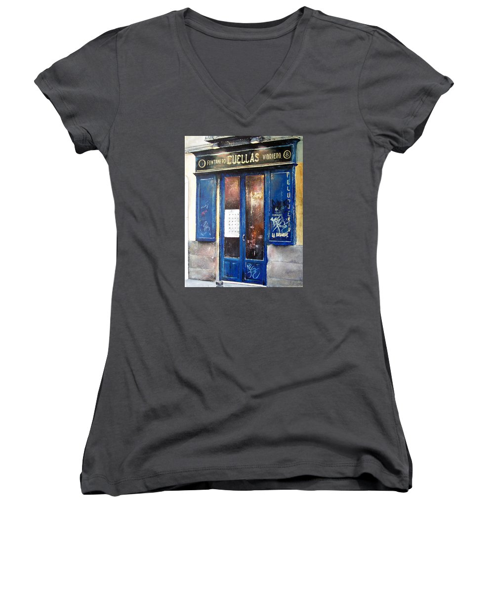 Old Women's V-Neck (Athletic Fit) featuring the painting Old Plumbing-madrid by Tomas Castano