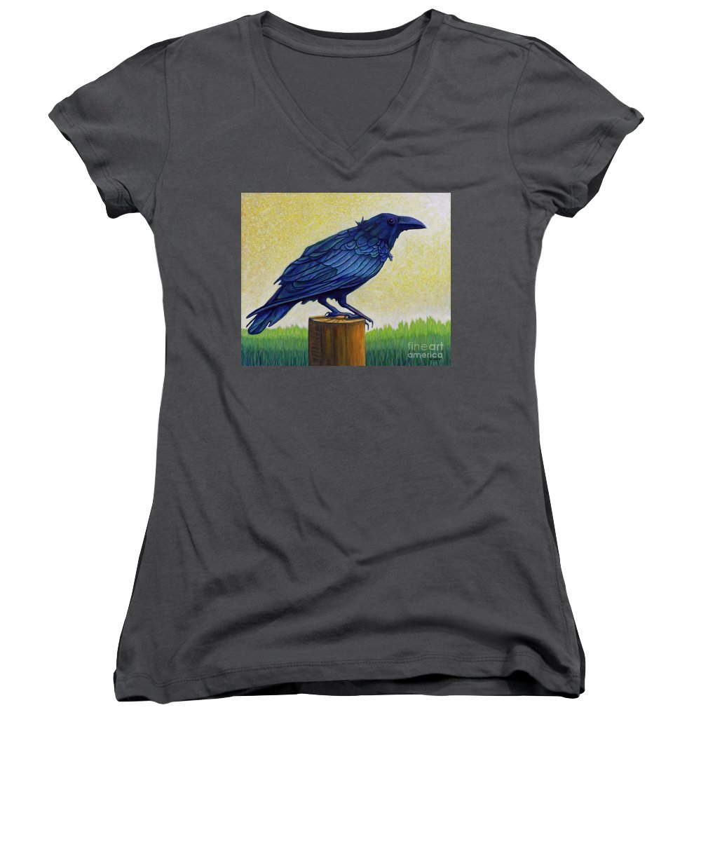 Raven Women's V-Neck (Athletic Fit) featuring the painting Old Priest In Passion by Brian Commerford