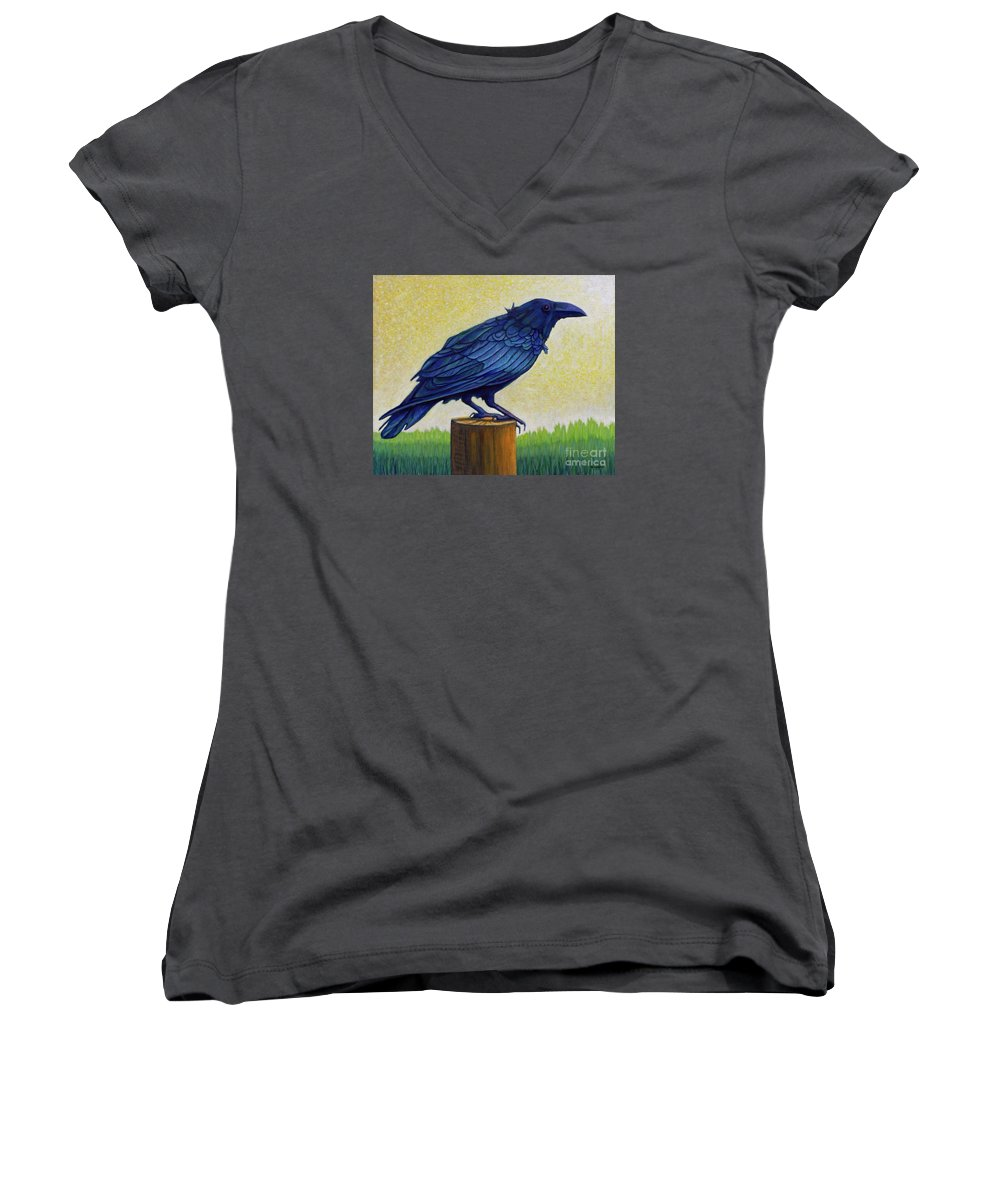 Raven Women's V-Neck T-Shirt featuring the painting Old Priest In Passion by Brian Commerford