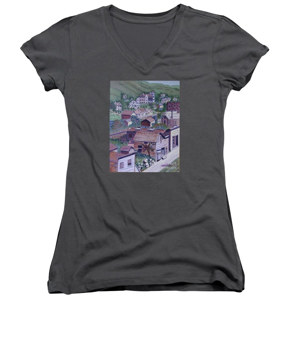 Ventura Women's V-Neck T-Shirt featuring the painting Old Ventura by Laurie Morgan