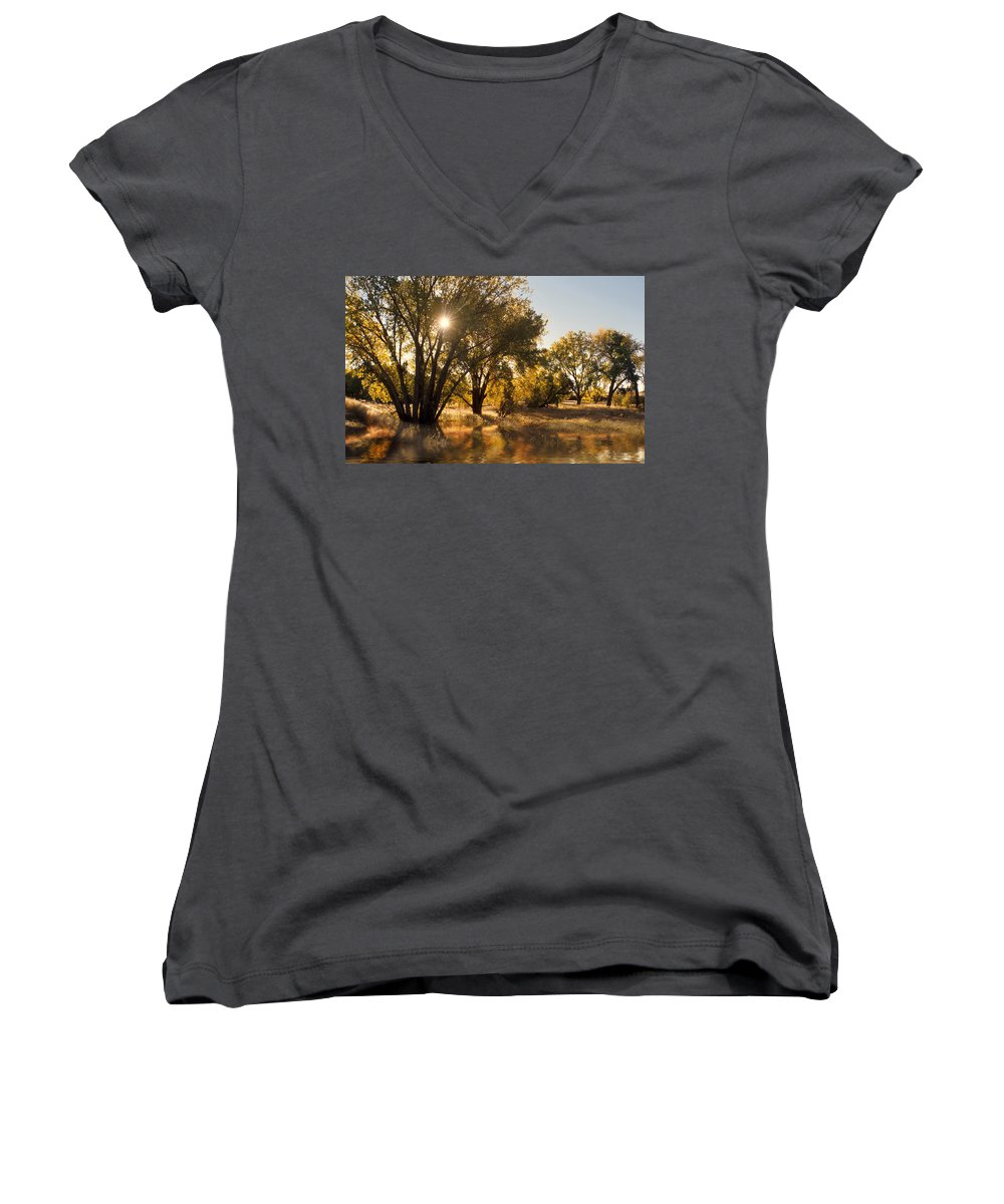 Ftrees Women's V-Neck T-Shirt featuring the photograph Oliver Sunbursts by Jerry McElroy