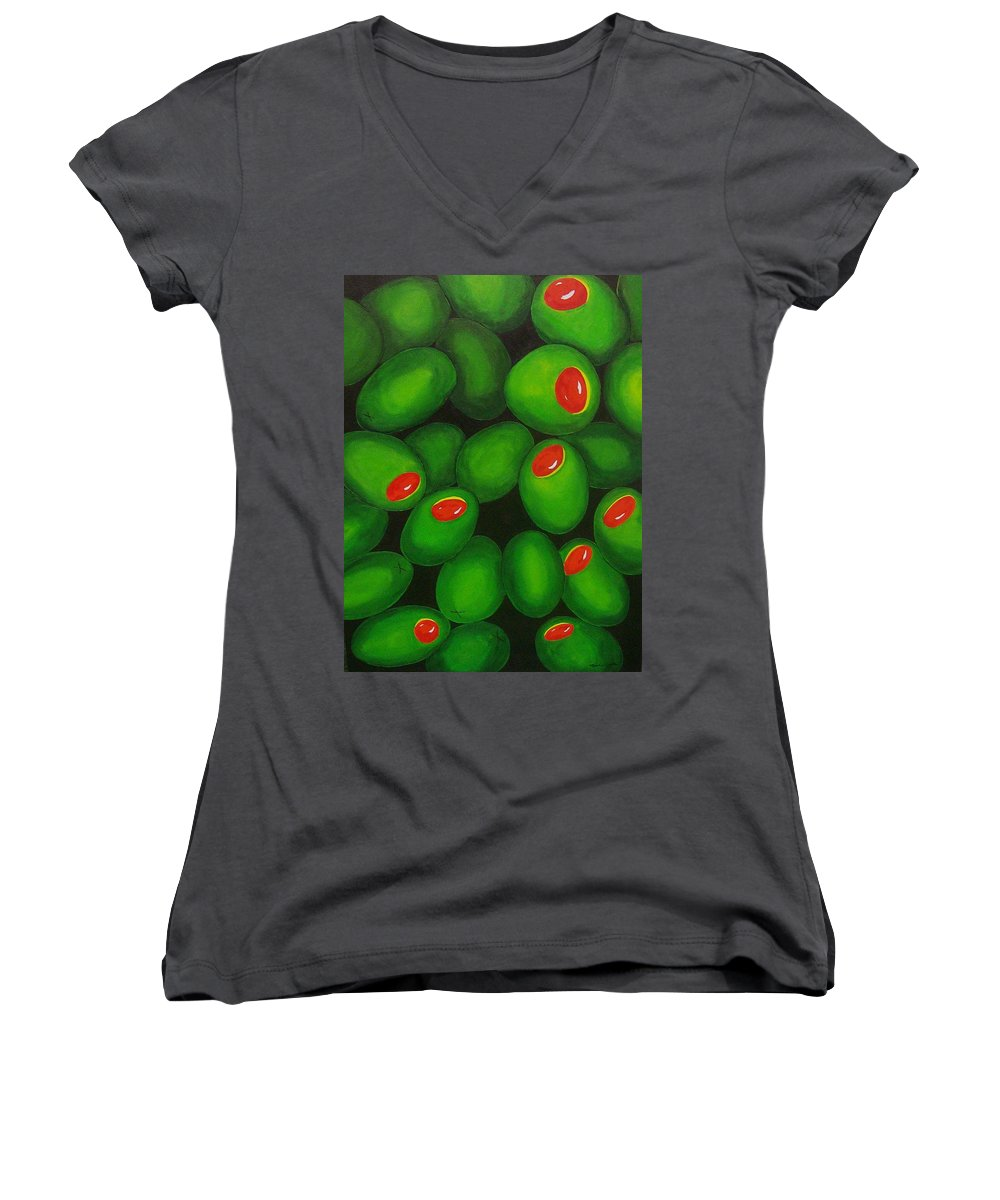 Olive Women's V-Neck T-Shirt featuring the painting Olives by Micah Guenther