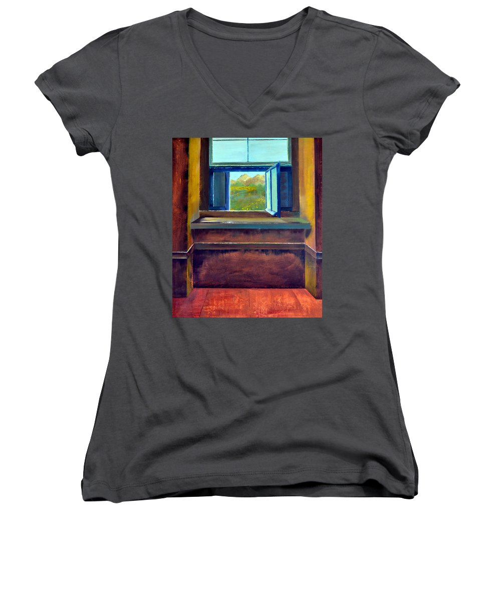 Trompe L'oeil Women's V-Neck (Athletic Fit) featuring the painting Open Window by Michelle Calkins