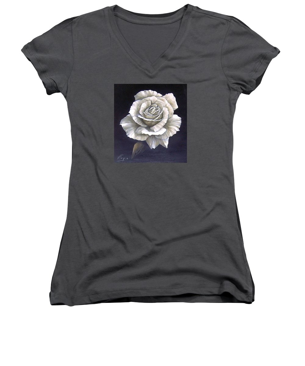 Rose Flower Women's V-Neck T-Shirt featuring the painting Opened Rose by Natalia Tejera