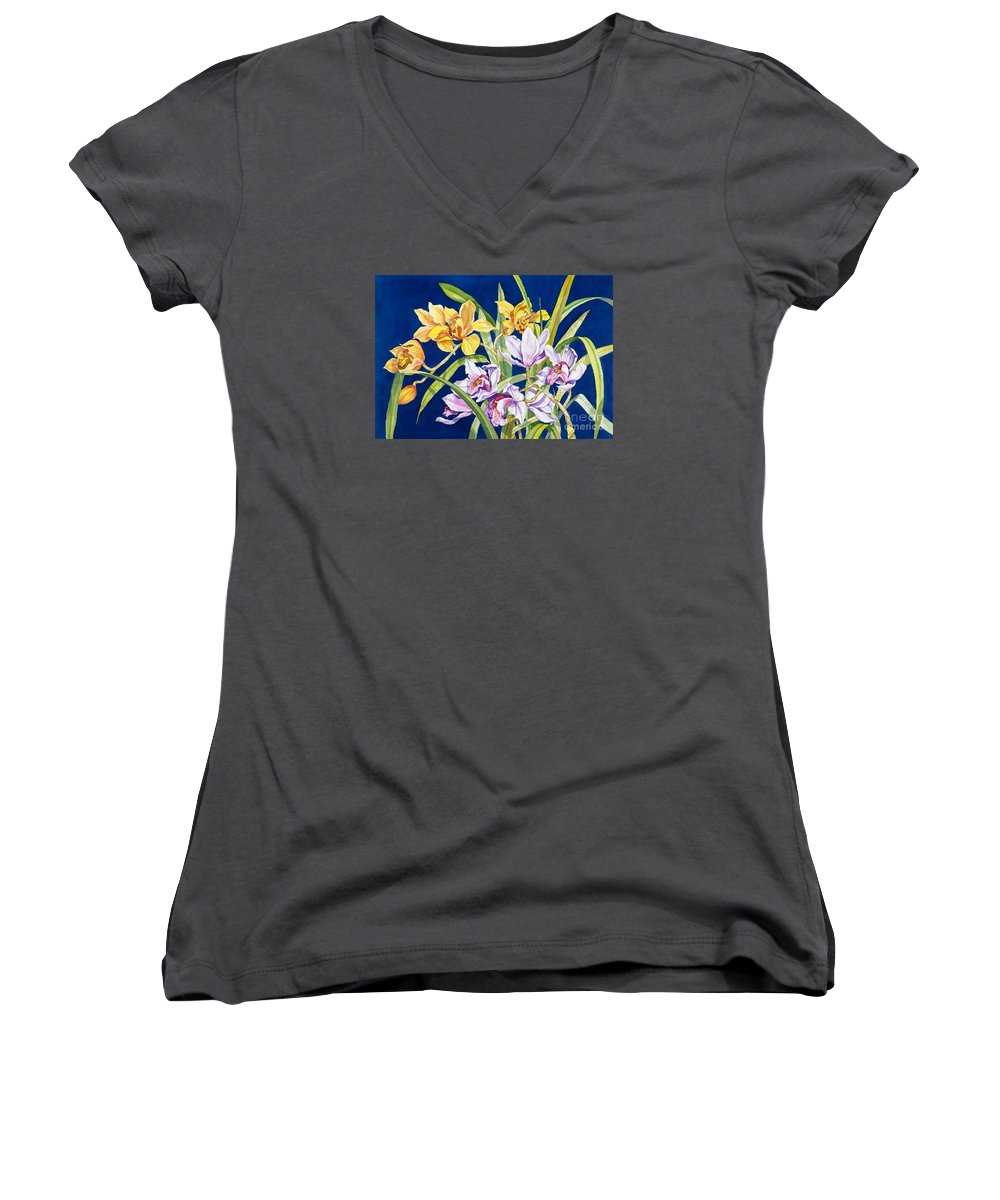 Orchids Women's V-Neck T-Shirt (Junior Cut) featuring the painting Orchids In Blue by Lucy Arnold