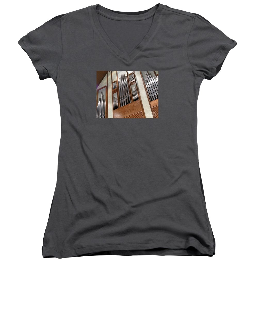 Music Women's V-Neck T-Shirt featuring the photograph Organ Pipes by Ann Horn