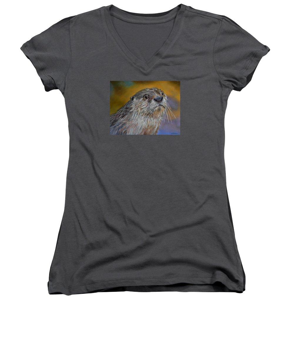 River Otter Women's V-Neck T-Shirt featuring the painting Otter Or Not by Ceci Watson