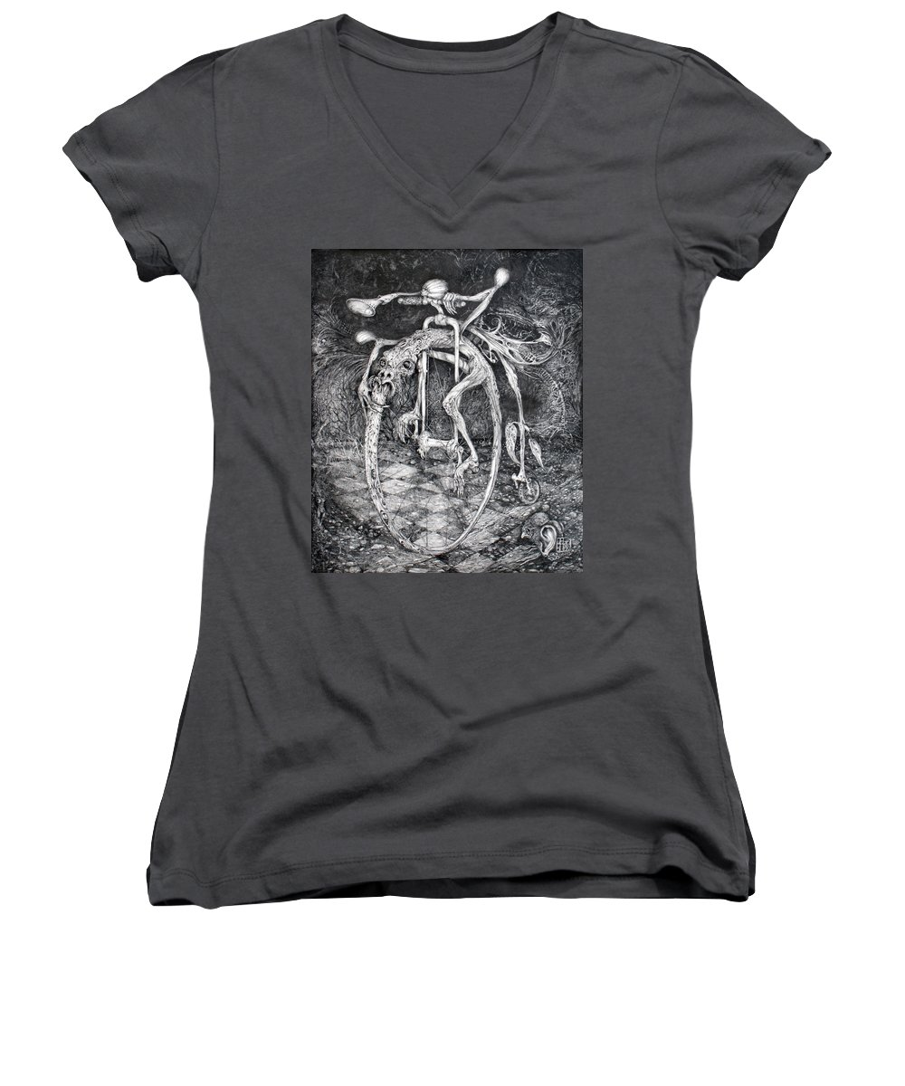 Ouroboros Women's V-Neck (Athletic Fit) featuring the drawing Ouroboros Perpetual Motion Machine by Otto Rapp