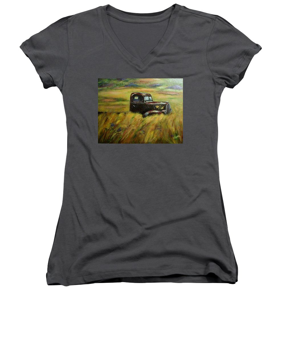 Vintage Truck Women's V-Neck T-Shirt featuring the painting Out To Pasture by Gail Kirtz