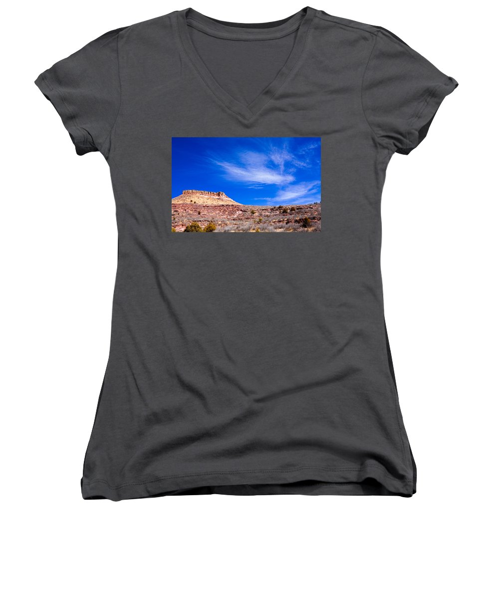 Red Women's V-Neck T-Shirt featuring the photograph Outside Lyons Colorado by Marilyn Hunt