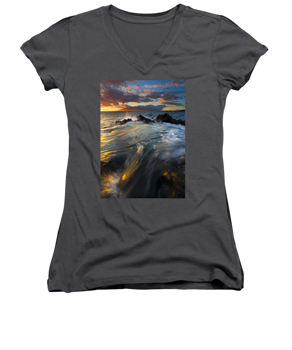 Cauldron Women's V-Neck T-Shirt featuring the photograph Overflow by Mike Dawson