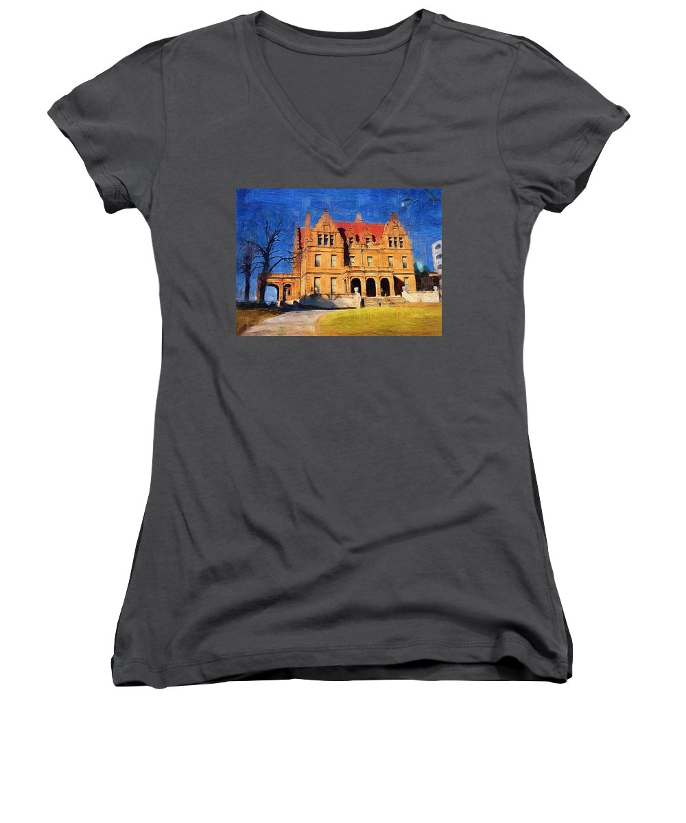 Architecture Women's V-Neck (Athletic Fit) featuring the digital art Pabst Mansion by Anita Burgermeister