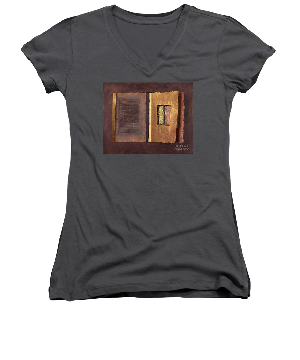 Pageformat Women's V-Neck T-Shirt featuring the painting Page Format No 2 Transitional Series by Kerryn Madsen-Pietsch