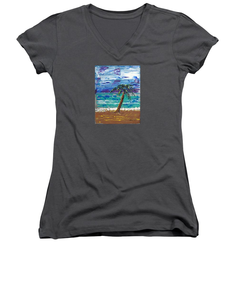 Palm Tree Women's V-Neck (Athletic Fit) featuring the painting Palm Beach by J R Seymour