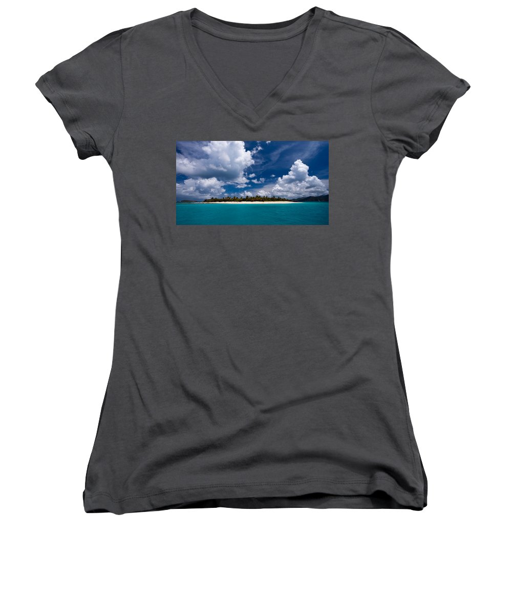 3scape Women's V-Neck T-Shirt featuring the photograph Paradise Is Sandy Cay by Adam Romanowicz