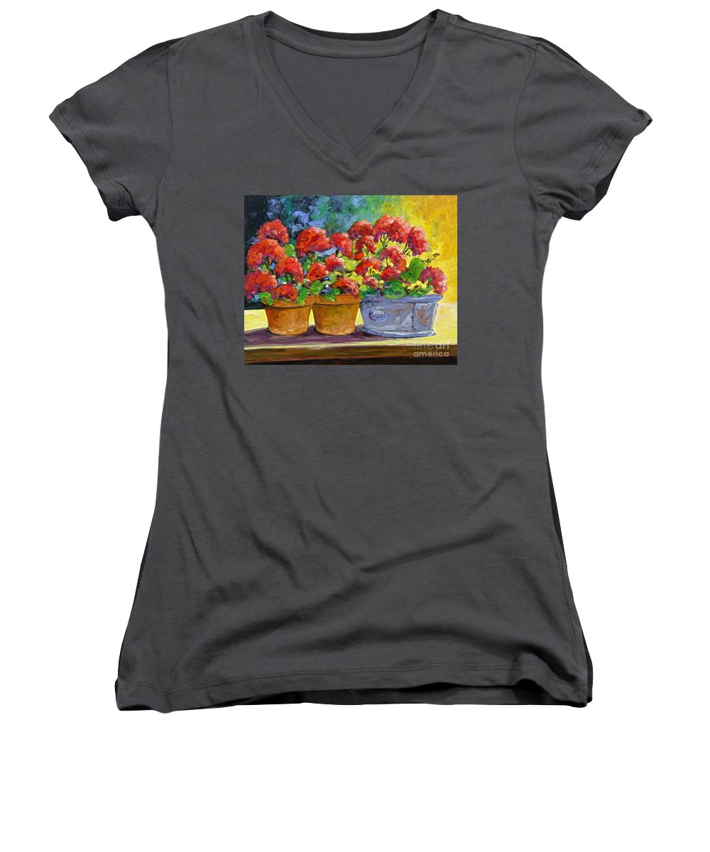 Still Life; Geraniums; Flowers; Terra Cotta; Red; Blue; Yellow; Green; Pranke; Women's V-Neck T-Shirt featuring the painting Passion In Red by Richard T Pranke