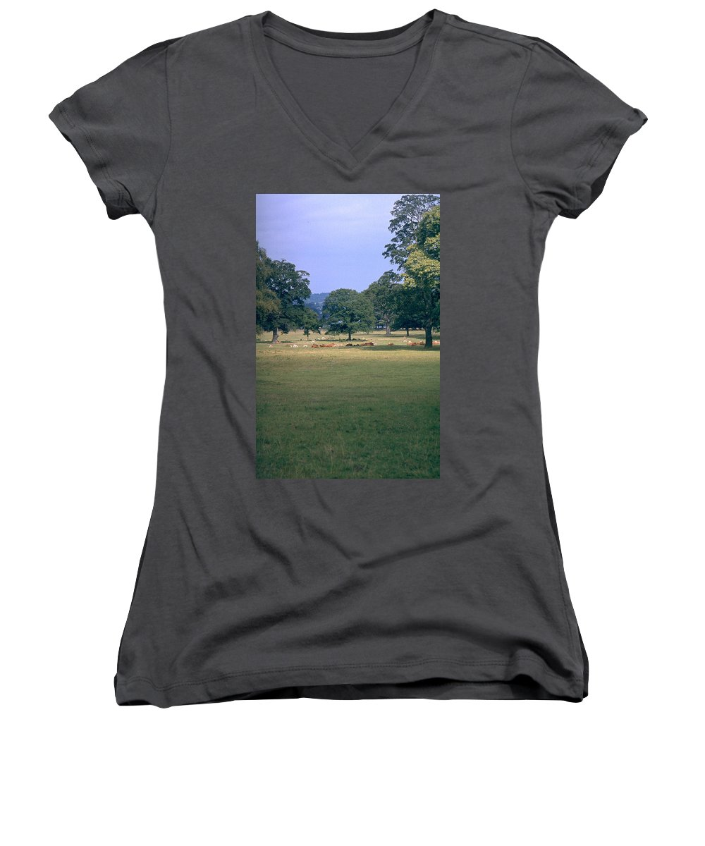 Great Britain Women's V-Neck (Athletic Fit) featuring the photograph Pasture by Flavia Westerwelle