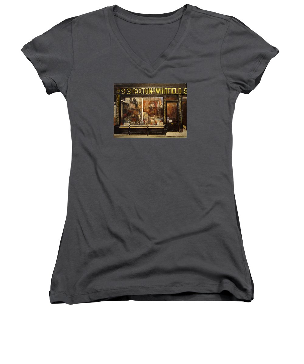 Paxton Women's V-Neck T-Shirt featuring the painting Paxton Whitfield .london by Tomas Castano
