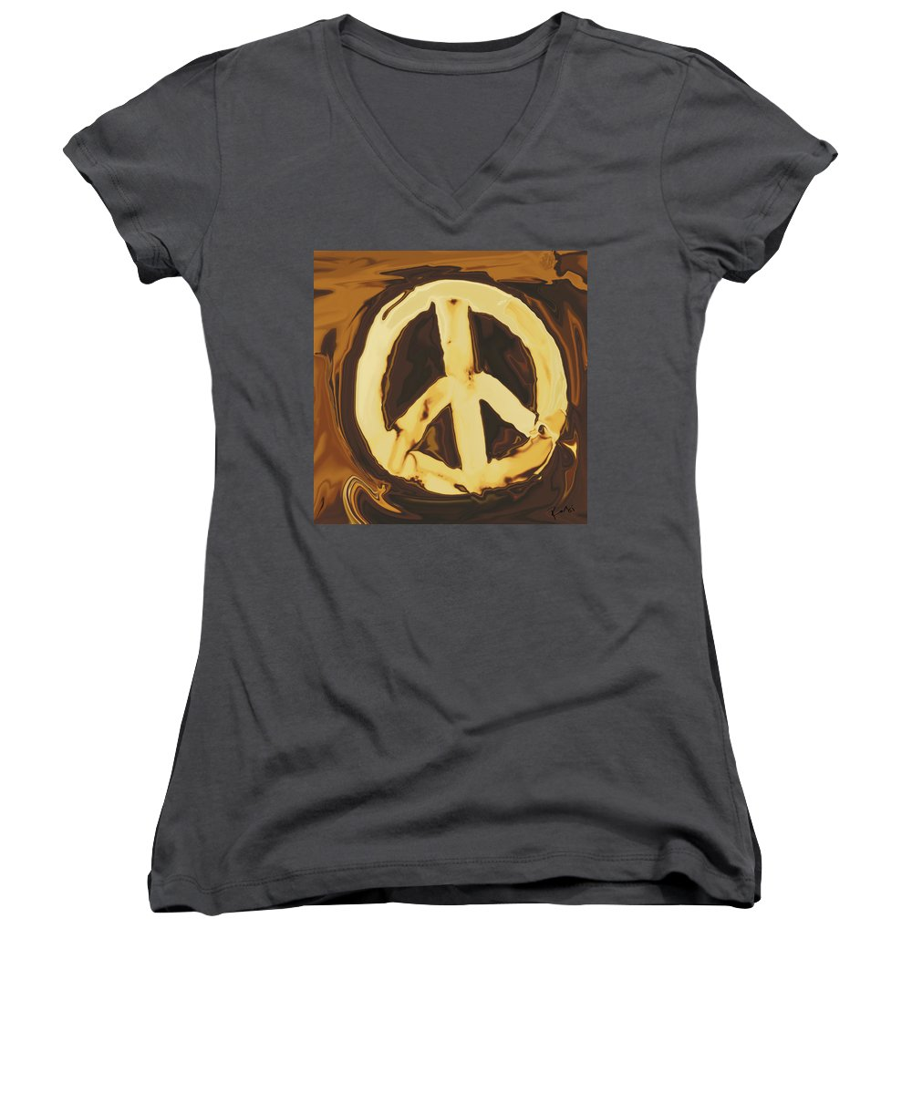 Freedom Women's V-Neck (Athletic Fit) featuring the digital art Peace 2 by Rabi Khan