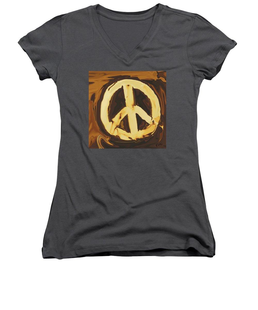 Freedom Women's V-Neck T-Shirt featuring the digital art Peace 2 by Rabi Khan