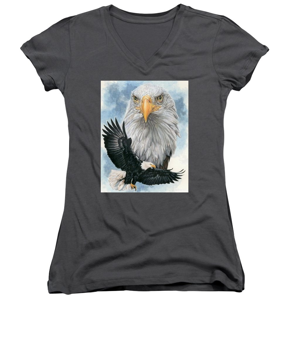 Bald Eagle Women's V-Neck T-Shirt featuring the mixed media Peerless by Barbara Keith