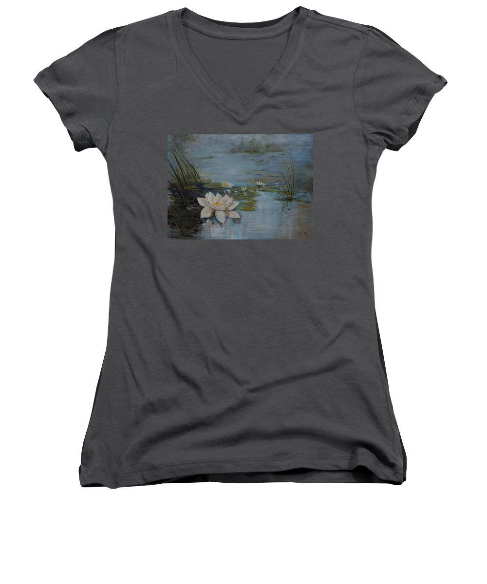 Water Lily Women's V-Neck T-Shirt featuring the painting Perfect Lotus - Lmj by Ruth Kamenev