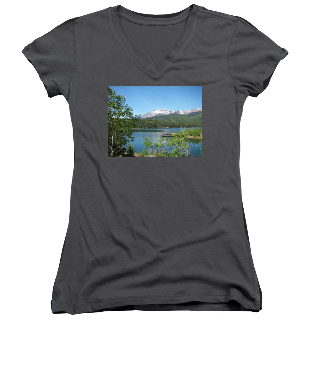 Colorado Women's V-Neck T-Shirt featuring the photograph Pike's Peak by Anita Burgermeister
