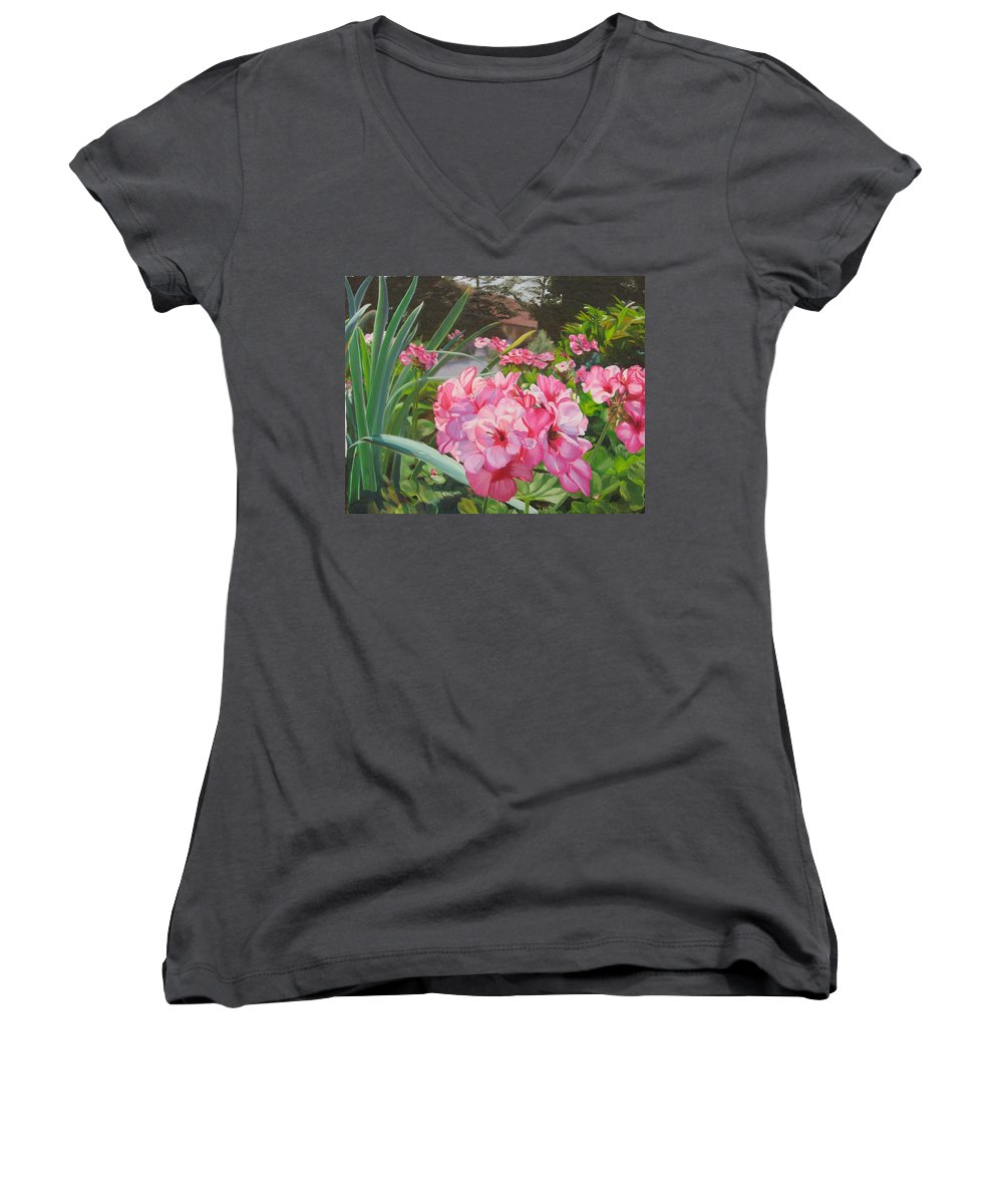 Pink Geraniums Women's V-Neck T-Shirt featuring the painting Pink Geraniums by Lea Novak