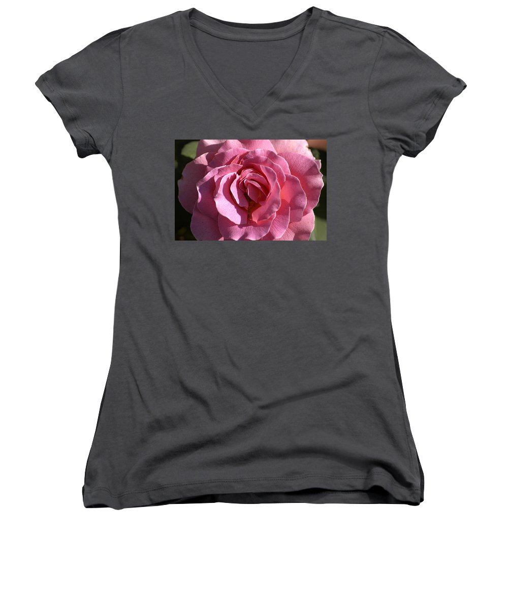 Clay Women's V-Neck T-Shirt featuring the photograph Pink Rose by Clayton Bruster