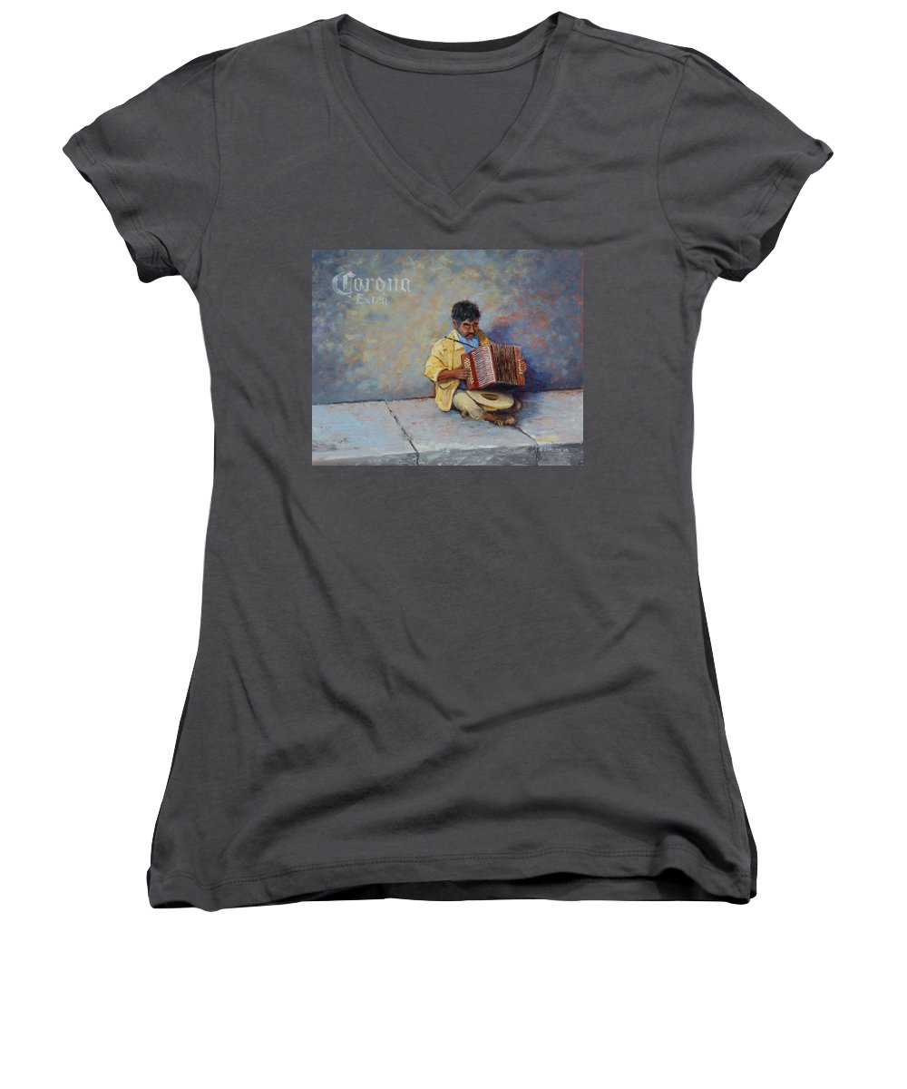Mexico Women's V-Neck T-Shirt featuring the painting Playing For Pesos by Jerry McElroy
