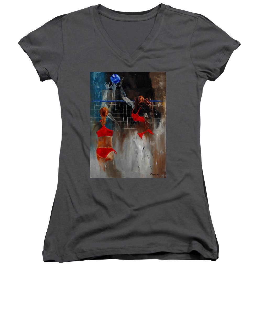 Sport Women's V-Neck T-Shirt featuring the painting Playing Volley by Pol Ledent