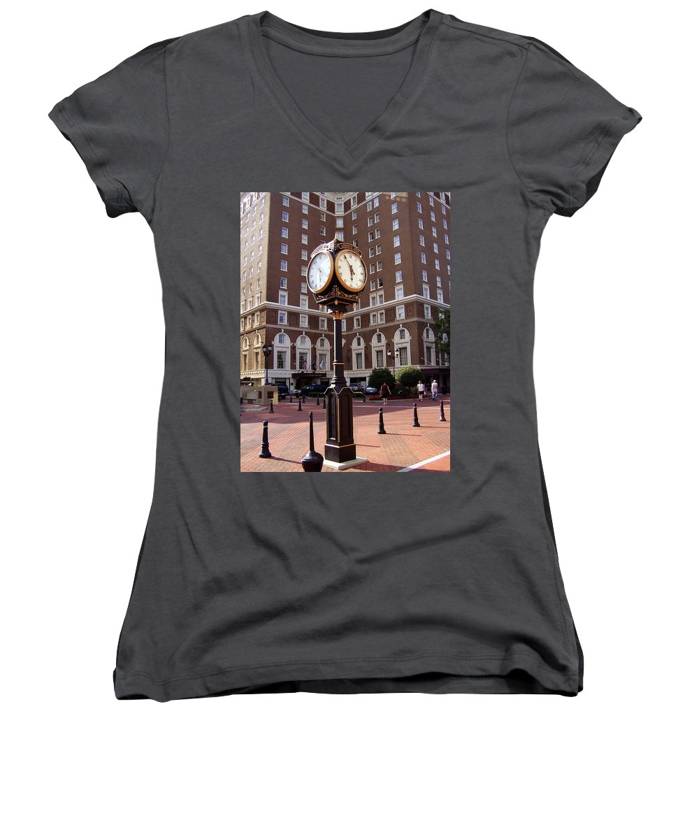Poinsett Hotel Women's V-Neck (Athletic Fit) featuring the photograph Poinsett Hotel Greeenville Sc by Flavia Westerwelle