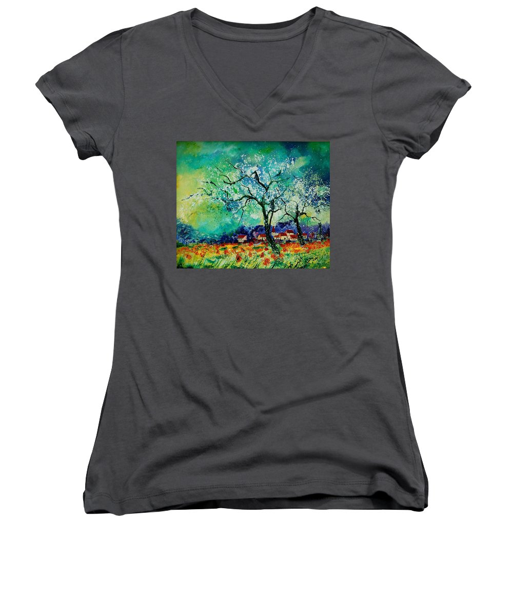 Landscape Women's V-Neck T-Shirt featuring the painting Poppies And Appletrees In Blossom by Pol Ledent