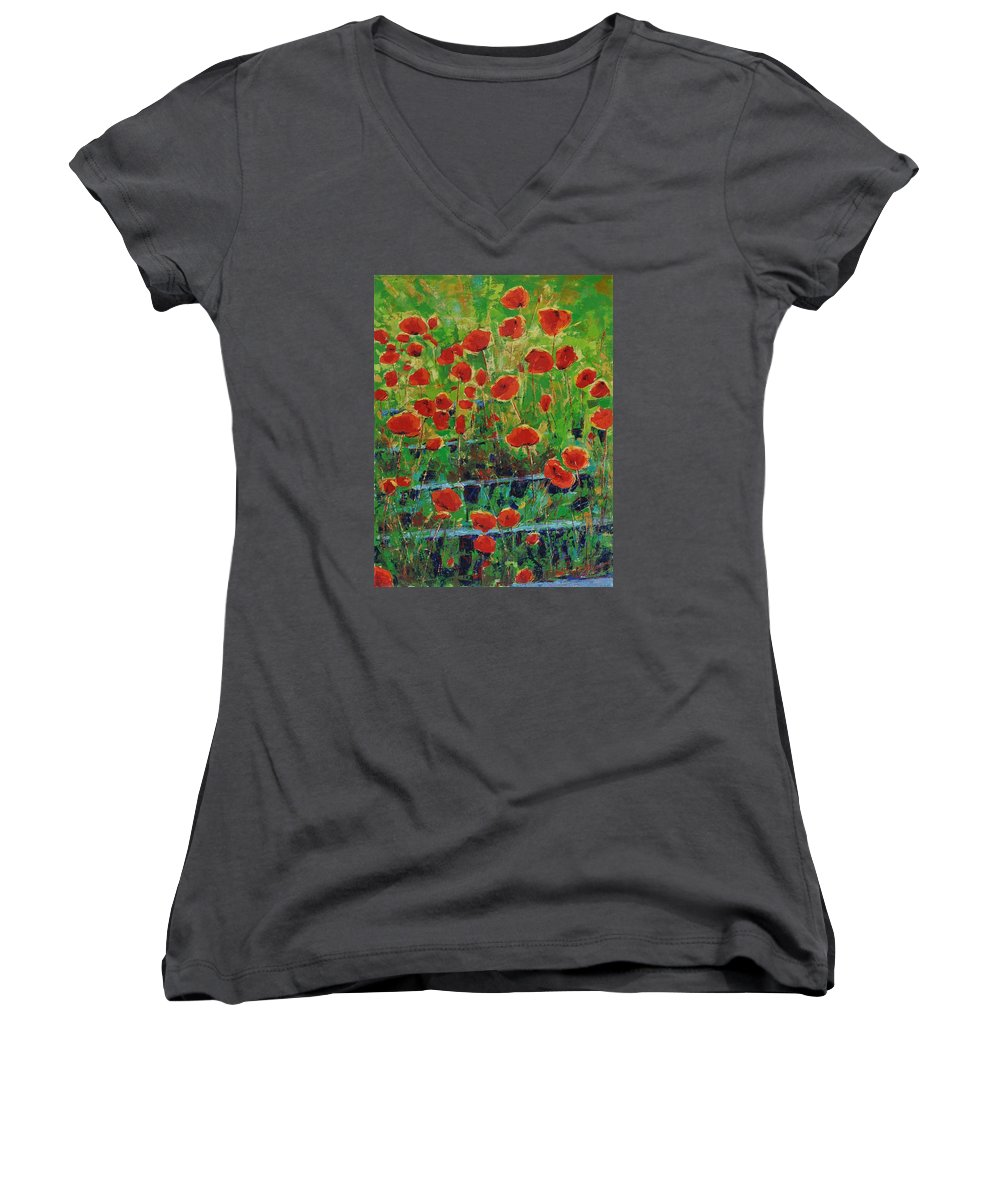 Poppies Women's V-Neck (Athletic Fit) featuring the painting Poppies And Traverses 1 by Iliyan Bozhanov