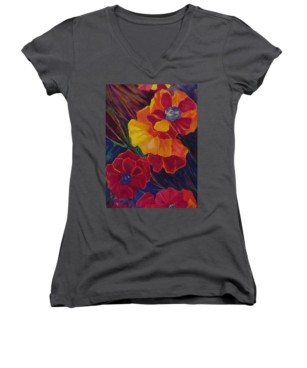Flowers Women's V-Neck (Athletic Fit) featuring the painting Poppies by Carolyn LeGrand