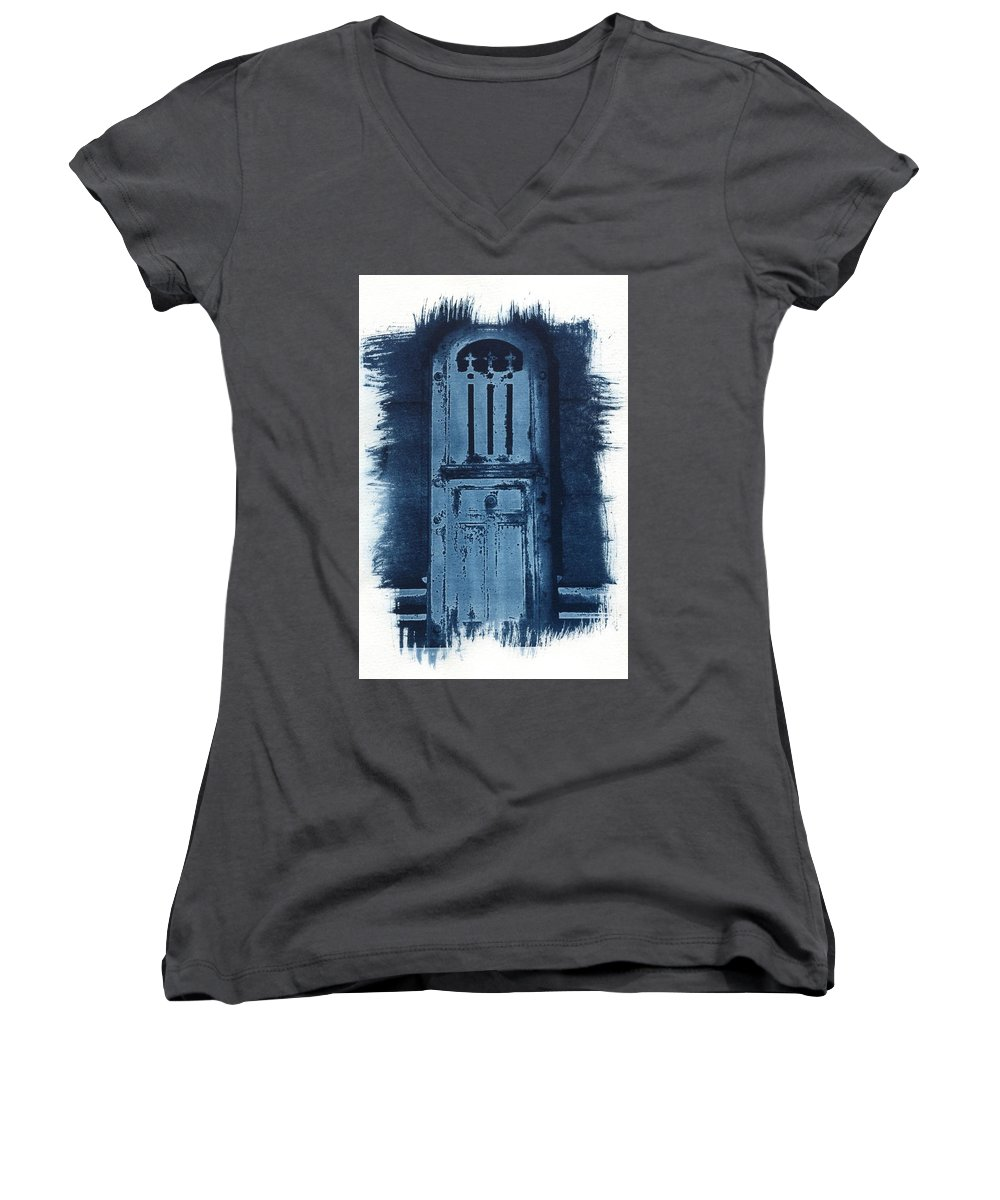 Cyanotype Women's V-Neck T-Shirt featuring the photograph Portals by Jane Linders