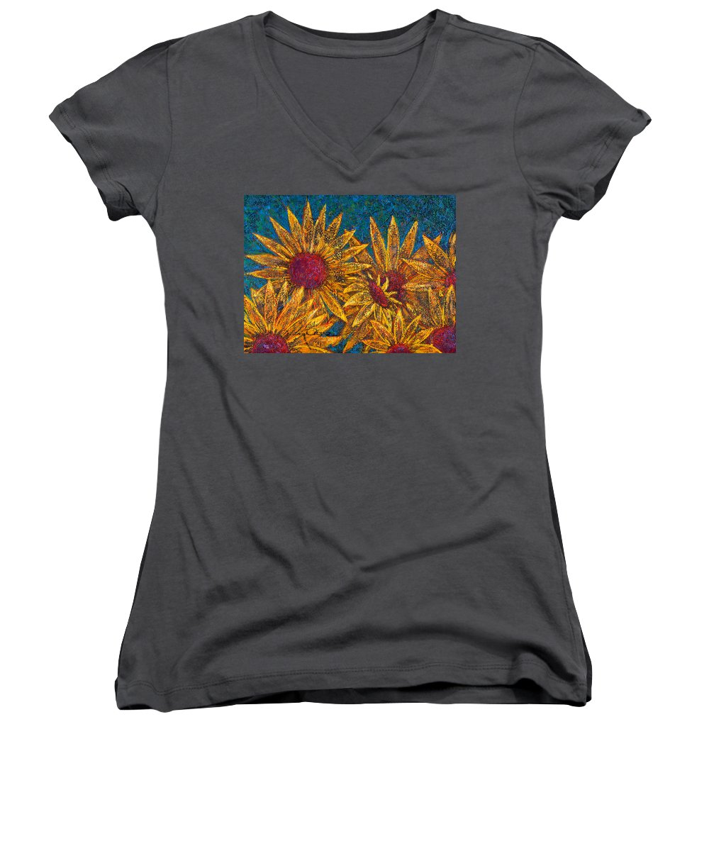 Flowers Women's V-Neck T-Shirt (Junior Cut) featuring the painting Positivity by Oscar Ortiz