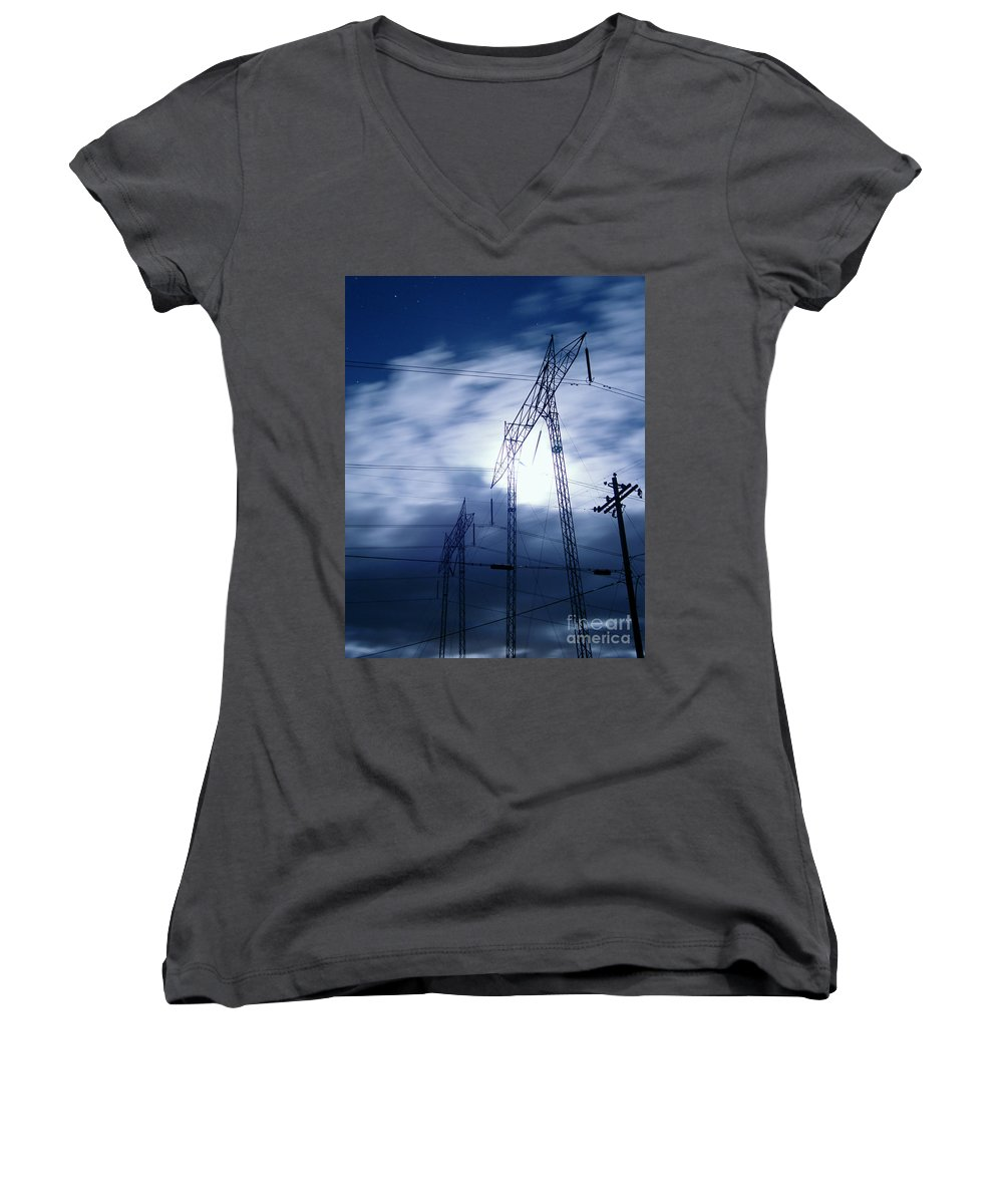 Clouds Women's V-Neck (Athletic Fit) featuring the photograph Power Surge by Peter Piatt