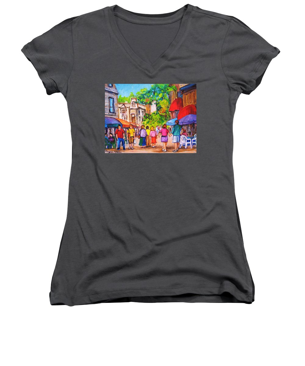 Rue Prince Arthur Montreal Street Scenes Women's V-Neck (Athletic Fit) featuring the painting Prince Arthur Street Montreal by Carole Spandau