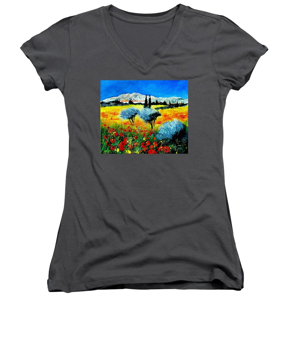 Poppies Women's V-Neck T-Shirt featuring the painting Provence by Pol Ledent