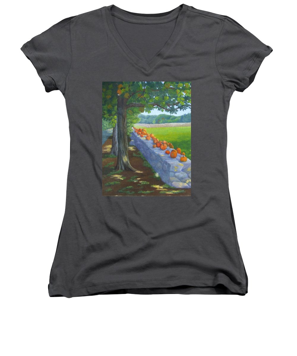 Pumpkins Women's V-Neck (Athletic Fit) featuring the painting Pumpkin Muster by Sharon E Allen