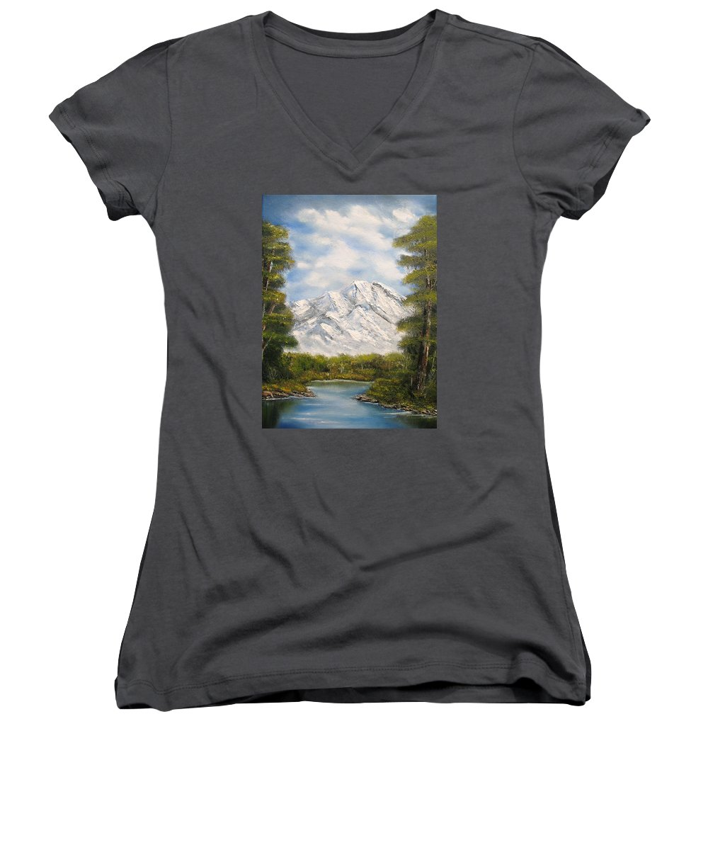Rocky Women's V-Neck featuring the painting Quiet View by Lisa Cini