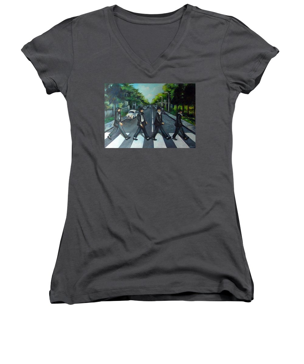 Surreal Women's V-Neck (Athletic Fit) featuring the painting Rabbi Road by Valerie Vescovi